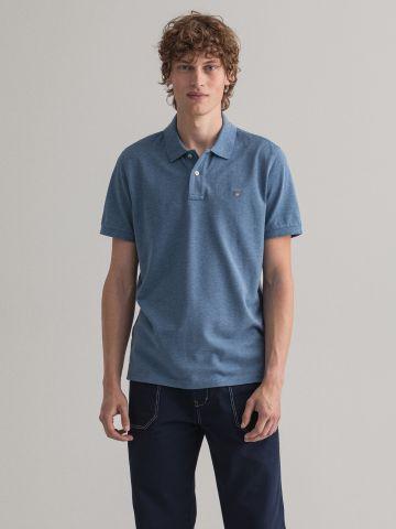 חולצת פולו מלאנז' עם לוגו של GANT