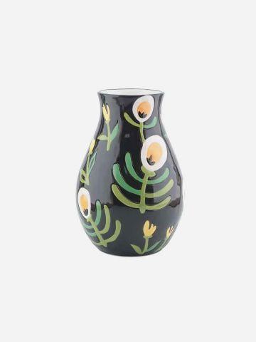 אגרטל קרמיקה עם איורי פרחים / גדול של FLORALIS