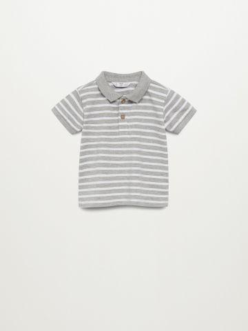 חולצת פולו בהדפס פסים / 9M-4Y של MANGO