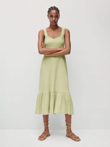 שמלת מידי קומות בהדפס משבצות של MANGO