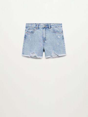 מכנסי ג'ינס קצרים עם קרעים של MANGO