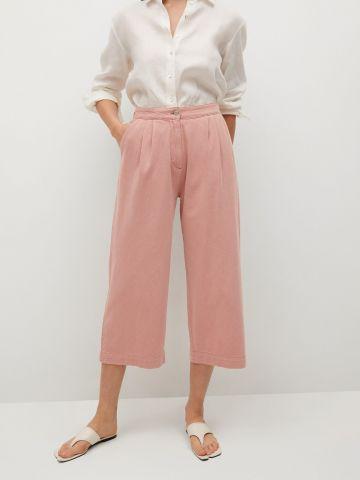 מכנסיים רחבים עם כיווצים של MANGO