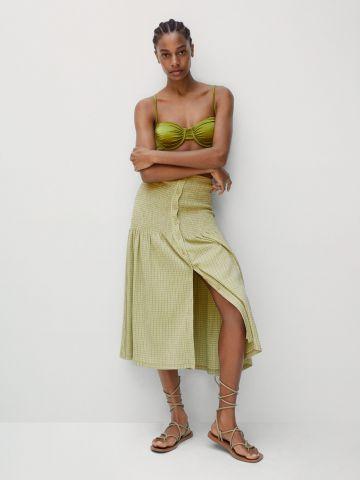 חצאית מידי בהדפס משבצות של MANGO