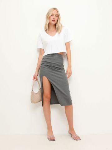 חצאית מידי ריב בשילוב כיווצים של TERMINAL X