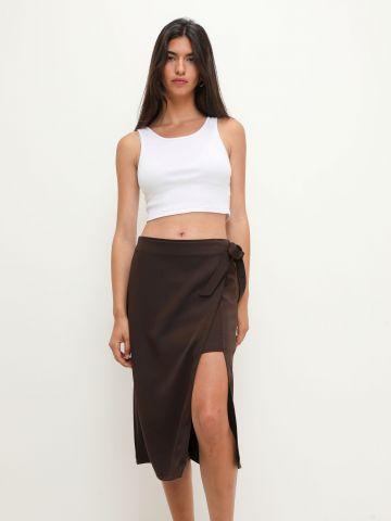 חצאית מידי מעטפת בשילוב קשירה של TERMINAL X