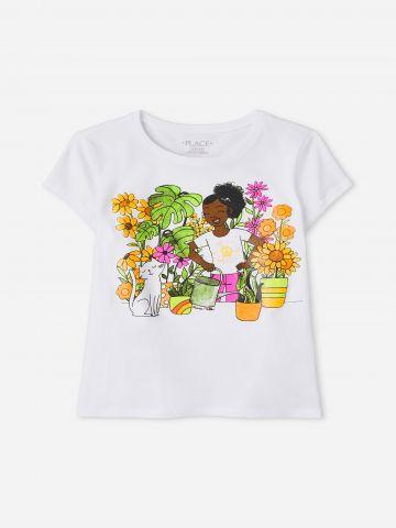 טי שירט עם הדפס פרחים / בנות של THE CHILDREN'S PLACE