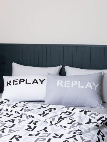סט מצעים זוגי רחב בהדפס לוגו של REPLAY