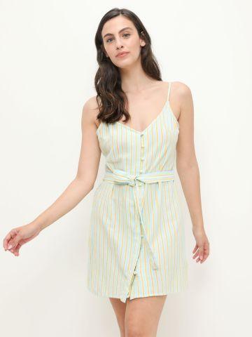 שמלה עם כפתורים בהדפס פסים של BILLABONG