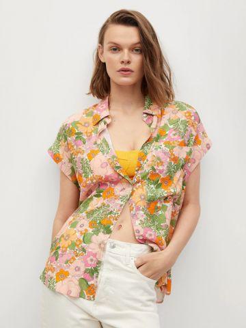חולצה מכופתרת בהדפס פרחים של MANGO