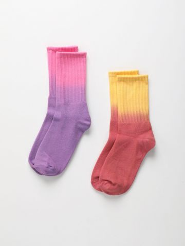 מארז 2 זוגות גרביים קולור בלוק / נשים של TERMINAL X