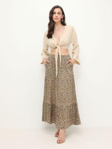חצאית מקסי קומות בהדפס פרחים של YANGA