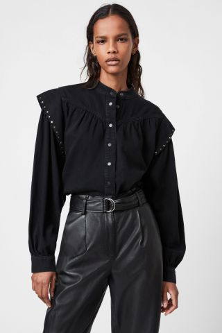חולצה מכופתרת עם ניטים / נשים של ALL SAINTS