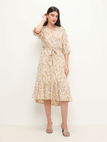 שמלת מידי פפלום בהדפס פרחים של YANGA