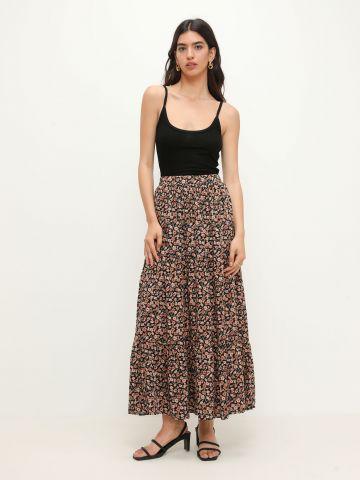חצאית קומות בהדפס פרחים של YANGA