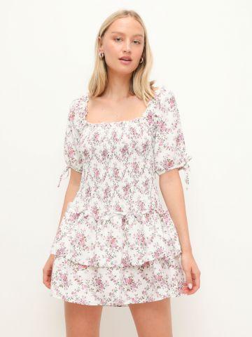 שמלת מיני קומות בהדפס עם שרוולים נפוחים של GLAMOROUS