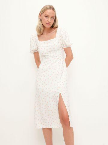 שמלת מידי בהדפס עם שרוולים נפוחים ושסע של GLAMOROUS