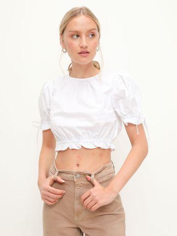 חולצת קרופ בשילוב פפלום של GLAMOROUS