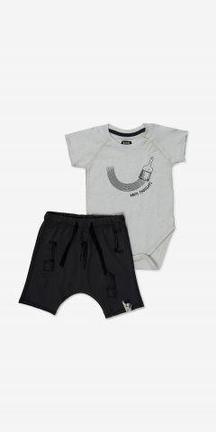 סט בגד גוף ומכנסיים קצרים עם הדפס / בייבי בנות 0-24M של MINENE