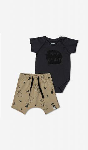 סט בגד גוף ומכנסיים קצרים בהדפס / בייבי בנות 0-24M של MINENE