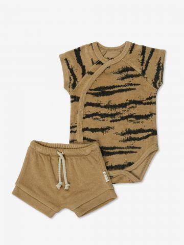 סט בגד גוף בהדפס ומכנסיים קצרים / 0-24M של MINENE