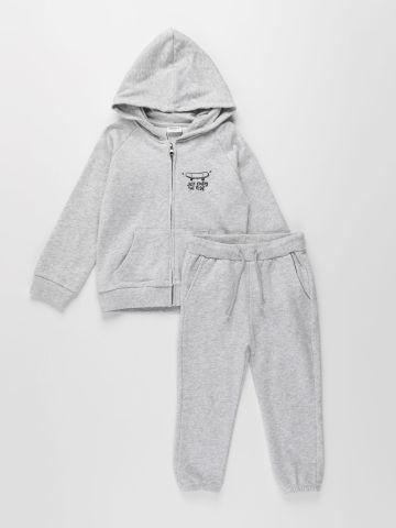 חליפת סווטשירט קפוצ'ון ומכנסיים דקים פרנץ' טרי / 3M-8Y בנים של TERMINAL X KIDS