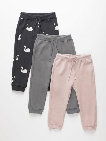 מארז 3 מכנסי טרנינג דקים פרנץ' טרי / 3M-6Y בנות של TERMINAL X KIDS