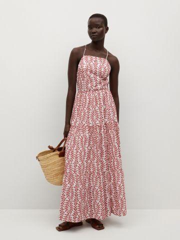 שמלת מקסי קומות ברקמת פרחים של MANGO