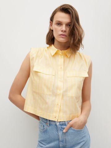 חולצת קרופ מכופתרת בהדפס פסים של MANGO