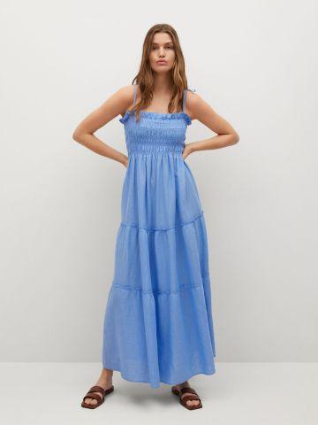 שמלת מקסי פשתן בסגנון קומות של MANGO