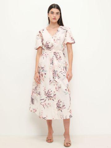 שמלת מקסי בהדפס פרחים עם קשירה של YANGA