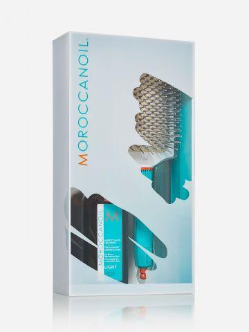 מארז שמן טיפולי ומברשת קרמית מתנה של MOROCCANOIL