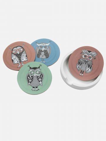 סט תחתיות לכוסות OWL של FOX HOME