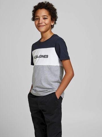 טי שירט קולור בלוק עם לוגו / Teen של JACK AND JONES