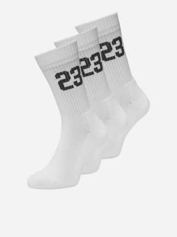מארז 3 זוגות גרביים גבוהים עם מספרים / גברים של JACK AND JONES