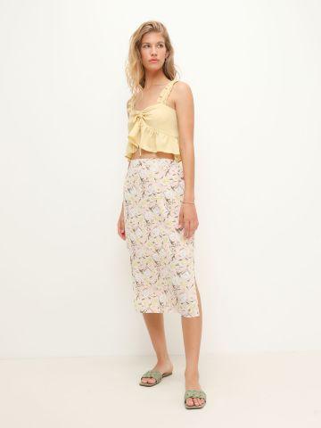 חצאית מידי בהדפס פרחים של YANGA