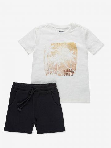 סט חליפת גן טי שירט ומכנסיים קצרים / 2Y-7Y של MINENE