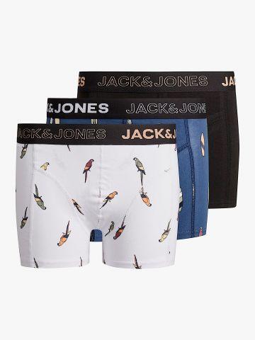 מארז 3 בוקסרים בהדפסים / 10Y-16Y של JACK AND JONES