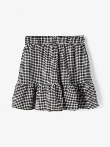 חצאית פפלום בהדפס משבצות / בנות של LMTD