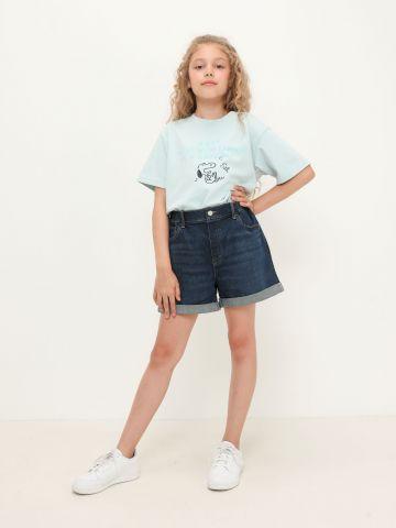 ג'ינס קצר בסיומת קיפול של UNIQLO