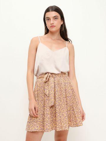 חצאית מיני פליסה עם חגורת קשירה של YANGA