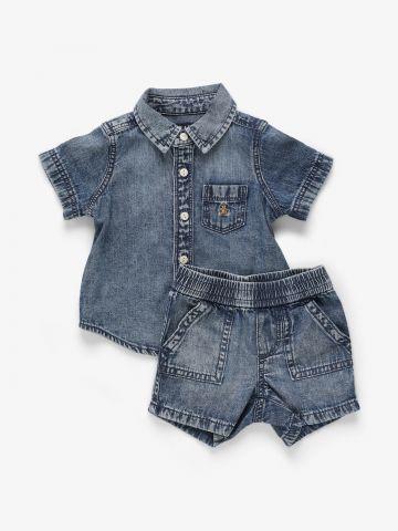 סט חולצה מכופתרת ומכנסיים בסגנון ג'ינס / 0-2Y של GAP