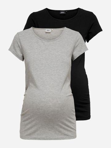 מארז 2 חולצות טי שירט בייסיק לנשים בהריון / MATERNITY של ONLY