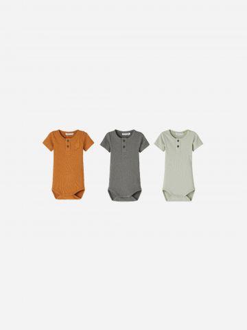 מארז 3 בגדי גוף בשילוב כפתורים / 1M-1.5Y של NAME IT
