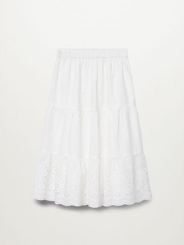 חצאית מידי בשילוב רקמת פרחים / בנות של MANGO