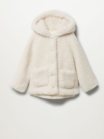 מעיל בסגנון צמר עם קפוצ'ון / בנות של MANGO