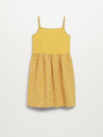 שמלה בהדפס בשילוב בד סריג / בנות של MANGO