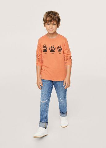 חולצה עם הדפס עקבות של MANGO