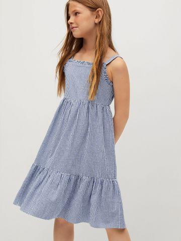 שמלה בהדפס פסים בסיומת פפלום של MANGO