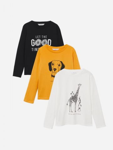 מארז 3 חולצות טי שירט ארוכות / בנות של MANGO
