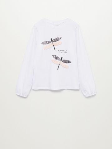 חולצה עם הדפס בשילוב פאייטים / בנות של MANGO